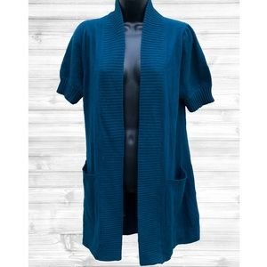 Avellini | Teal Cashmere Sweater Cardigan | Small
